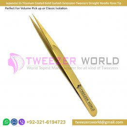 Gold Eyelash Extension Tweezers Straight Needle Nose Tip