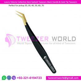 Luxury Volume Collection Best Eyelash Tweezer Black Handle & Gold Tip