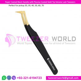 Luxury Volume Collection Best Eyelash Tweezer Black Handle & Gold Tip