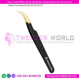 Paper Coated White Handle with Plasma Coated Gold Curved Tip Tweezer
