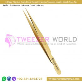 S-Shape Gold Eyelash Extension Tweezers Straight Needle Nose Tip
