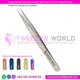 Straight Needle Nose Point Tweezer With Hole on Tail For Lanyard Earrings