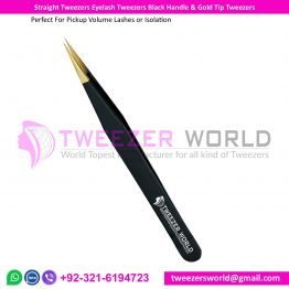 Straight Tweezers Eyelash Tweezers Black Handle & Gold Tip Tweezers