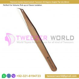 Titanium Coated Gold Eyelash Tweezers 45 Degree Angled Tip