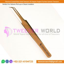 Titanium Coated Rose Gold Tweezers 45 Degree Angled Tip Best Eyelash Tweezers