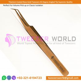 Titanium Coated Rose Gold Tweezers 45 Degree Angled Tip Supreme Quality