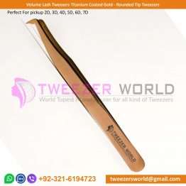Volume Lash Tweezers Titanium Coated Gold - Rounded Tip Tweezers