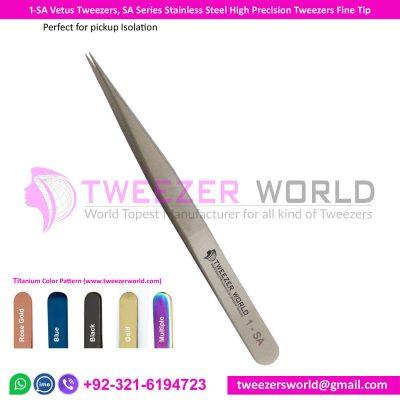 1-SA Vetus Tweezers, SA Series Stainless Steel High Precision Tweezers Fine Tip