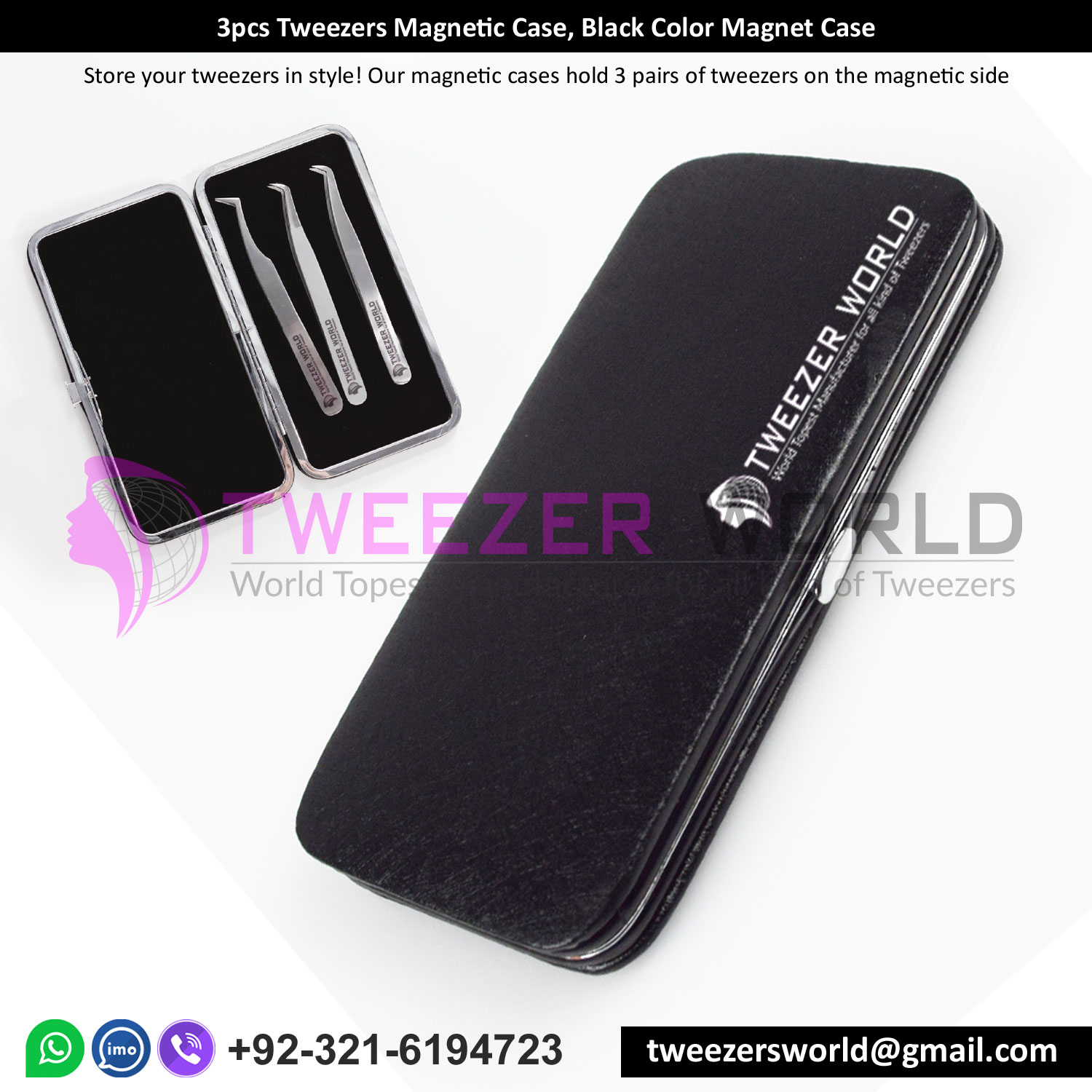 3pcs Tweezers Magnetic Case, Black Color Magnet Case