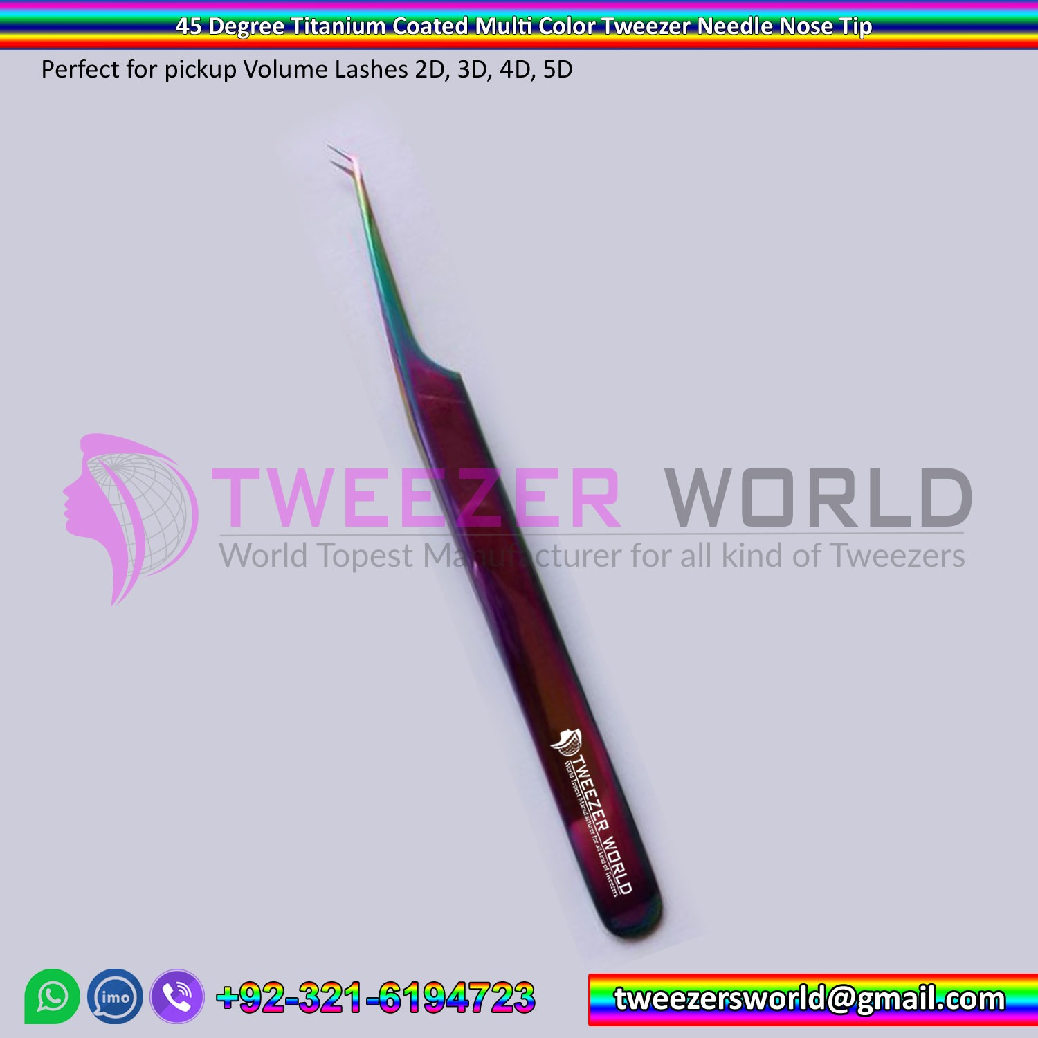 45 Degree Titanium Coated Multi Color Tweezer Needle Nose Tip