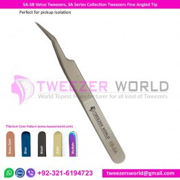 5A-SB Vetus Tweezers, SA Series Collection Tweezers Fine Angled Tip