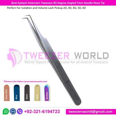 Best Eyelash Extension Tweezers 90 Degree Angled 7mm Needle Nose Tip