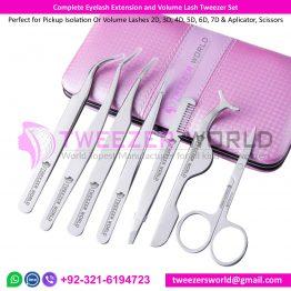Complete Eyelash Extension and Volume Lash Tweezer Set
