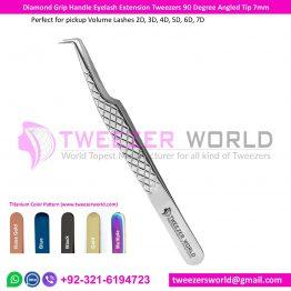 Diamond Grip Handle Eyelash Extension Tweezers 90 Degree Angled Tip