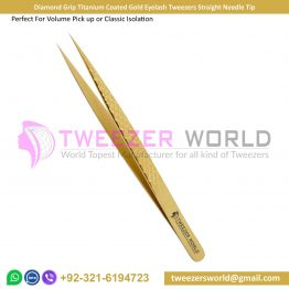 Diamond Grip Titanium Coated Gold Eyelash Tweezers Straight Needle Tip