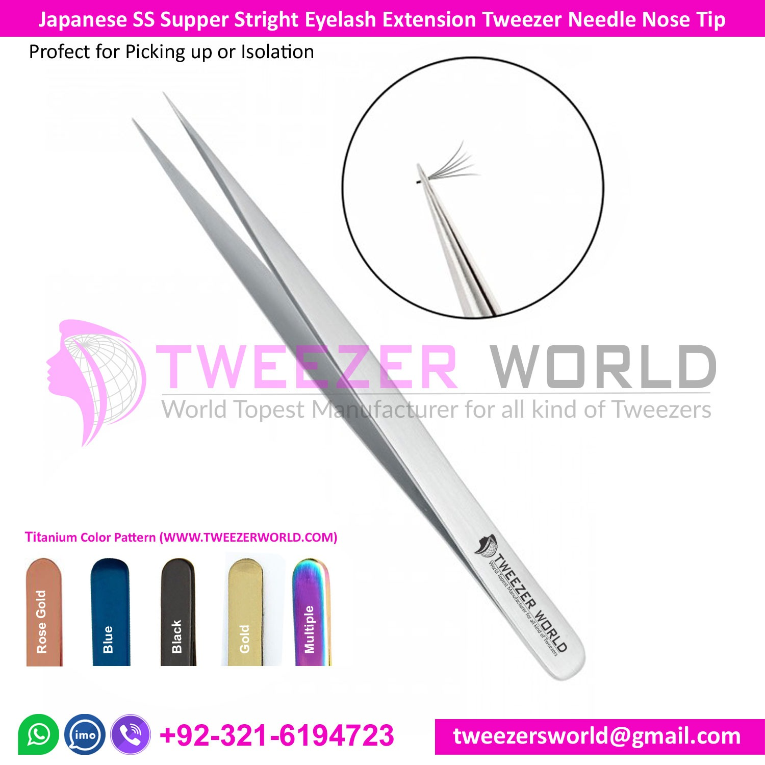 Eyelash Extensions Tweezers Super Straight Needle Nose Pointed
