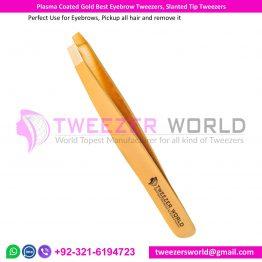 Plasma Coated Gold Best Eyebrow Tweezers, Slanted Tip Tweezers