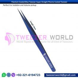 Titanium Coated Blue Tweezer Super Straight Plasma Coated Tweezer