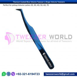 Titanium Coated Blue Volume Tweezer L-Shape Volume Tweezers