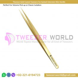 Titanium Gold Coated Tweezers For Eyelash Extension Slim Handle
