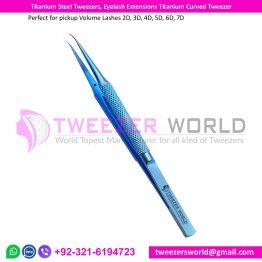 Titanium Steel Tweezers, Eyelash Extensions Titanium Curved Tweezer