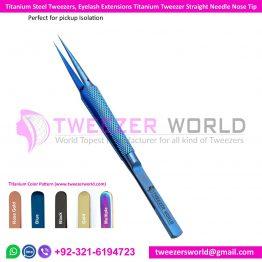 Titanium Steel Tweezers, Eyelash Extensions Titanium Tweezer Straight Tip