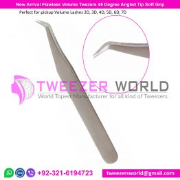 New Arrival Flawless Volume Tweezers 45 Degree Angled Tip Soft Grip