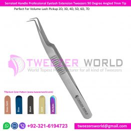 Serrated Handle Professional Eyelash Extension Tweezers 90 Degree Angled 7mm Tip